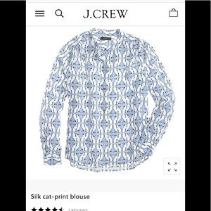 NWT J Crew Silk Cat-Print Blouse